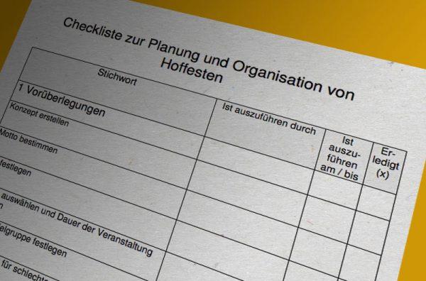 Checkliste zur Planung von Hoffesten